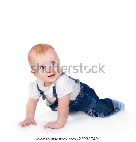 closeup image of the cute little baby isolated on white - stock photo