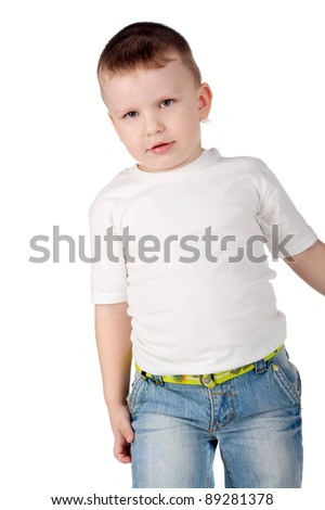 closeup image of the cute little boy in jeans