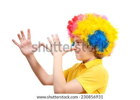closeup image of the cute little clown boy  - stock photo