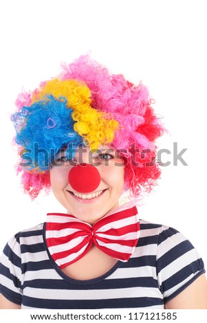 closeup image of the cute smiling clown