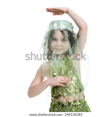 closeup image of the girl in the costume of the eastern beauty - stock photo