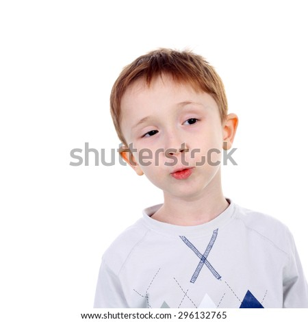 closeup image of the handsome little boy - stock photo
