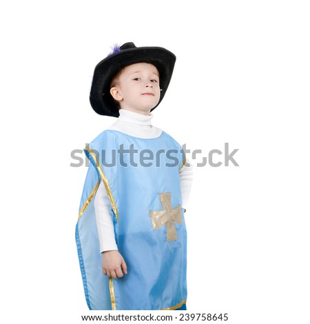 closeup image of the little boy in the musketeer costume - stock photo