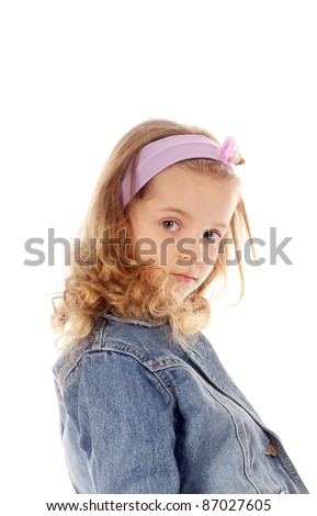 closeup image of the little girl in jeans coat