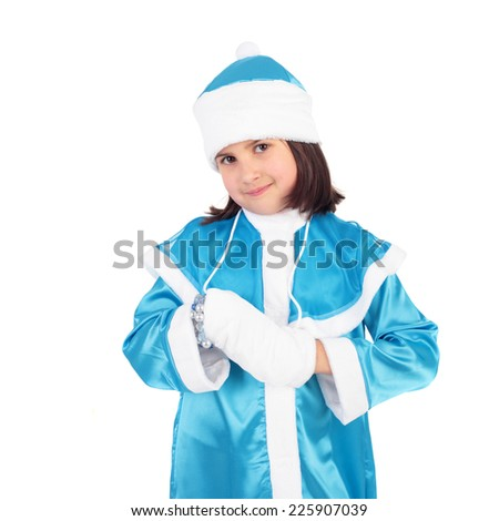 closeup image of the pretty little girl in the costume of the Snow Maiden