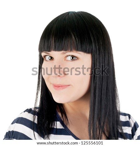 closeup image of the pretty sly smiling brunette young girl - stock photo