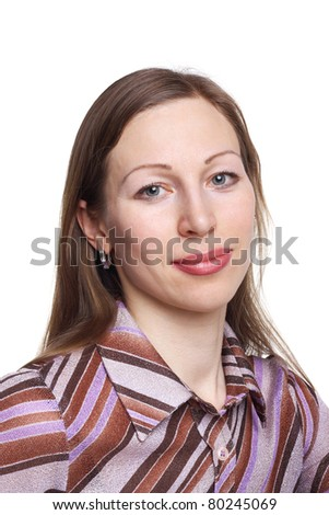 closeup image of the pretty young woman looking at the camera - stock photo