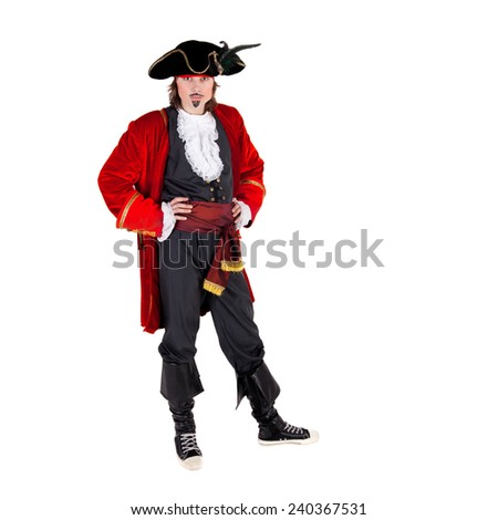 closeup image of the young pirate - stock photo