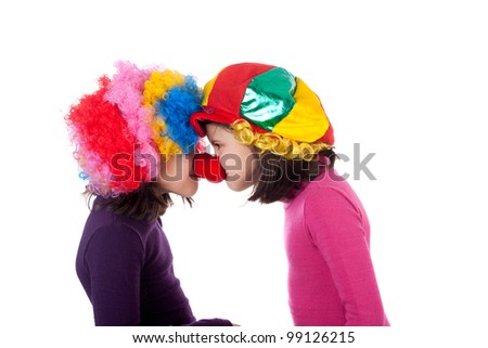 closeup image of two cute little clowns - stock photo