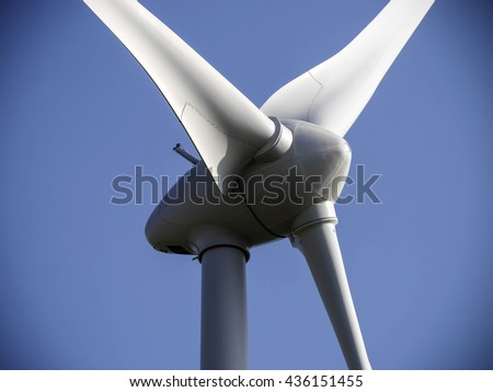 Closeup image of wind generator propeller with vignette edges.