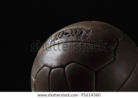 closeup image on retro leather soccer ball - stock photo