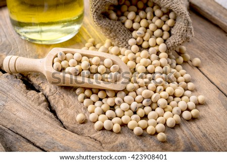 closeup is some soybeans with wooden spoon with wooden background