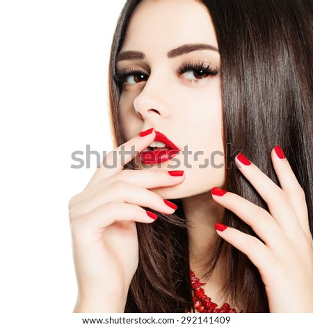 Closeup Isolate Portrait of Fashion Woman with Manicure, Healthy Hair and Makeup Isolated on White Background - stock photo