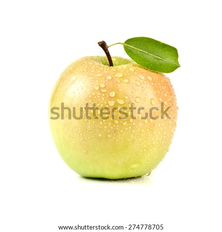 closeup isolated juicy orange apple - stock photo