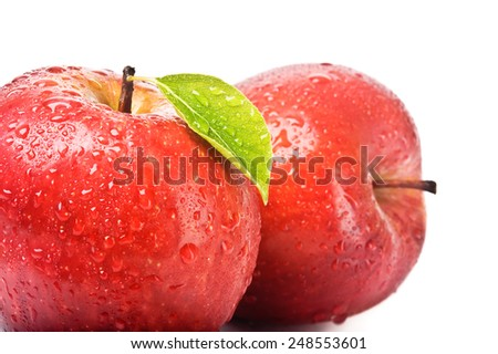 closeup isolated juicy red apple - stock photo