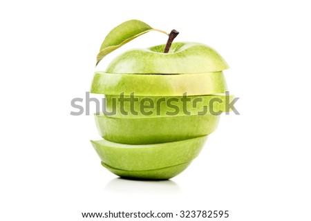 closeup isolated sliced green apple - stock photo