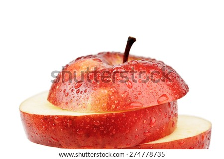 closeup isolated sliced red apple - stock photo