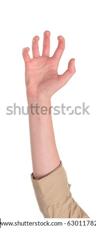 Closeup isolated studio shot of the front view of a womans outstretched hand in a claw