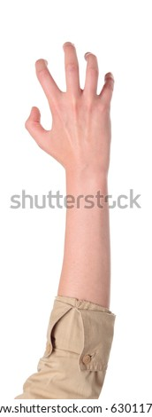 Closeup isolated studio shot of the front view of a womans outstretched hand in a claw - stock photo
