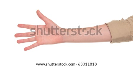 Closeup isolated studio shot of the front view of a womans outstretched hand in a number five sign