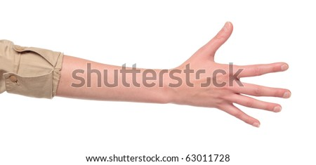 Closeup isolated studio shot of the rear view of a womans outstretched hand in a number five sign