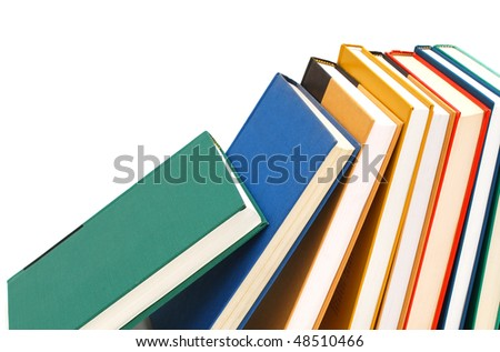 closeup isolated textbooks