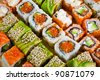 Closeup japanese sushi background - stock photo