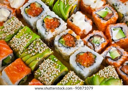 Closeup japanese sushi background - stock photo