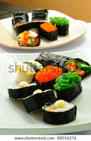 Closeup japanese sushi. Series japanese food