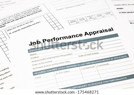 closeup job performance appraisal and paperwork, evaluation and assessment concept for human resource business - stock photo