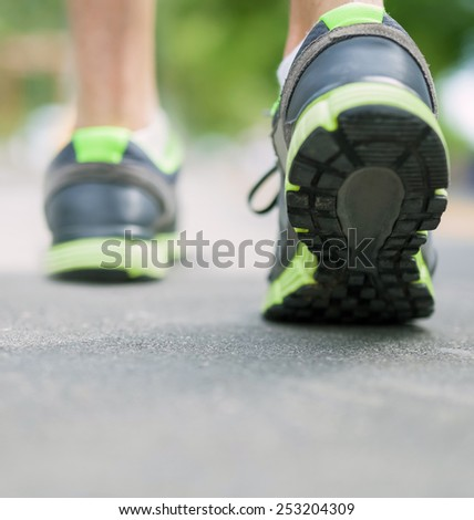 closeup jogger shoes with copy space - stock photo