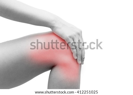 closeup  Knee Pain on isolated on white background - stock photo
