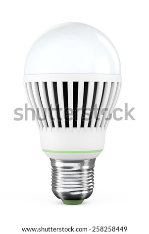 Closeup LED bulb on a white background - stock photo