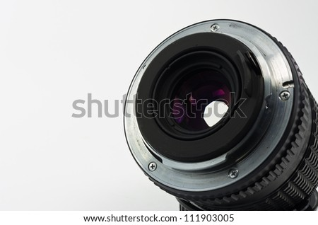 Closeup lens mount manually Isolated on white.