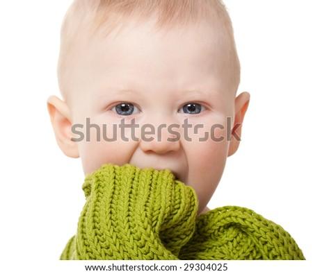 closeup little baby boy portrait on white background - stock photo