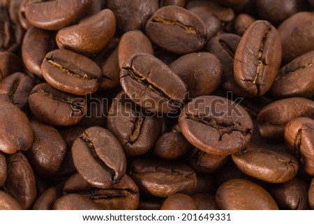 Closeup macro of Coffee beans background
