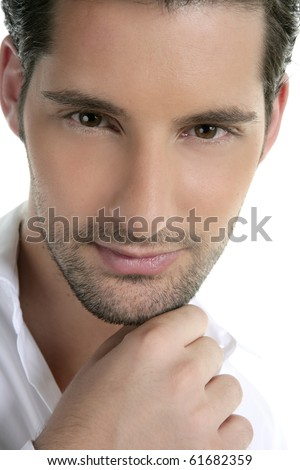 Closeup male young man portrait hand in face isolated on white