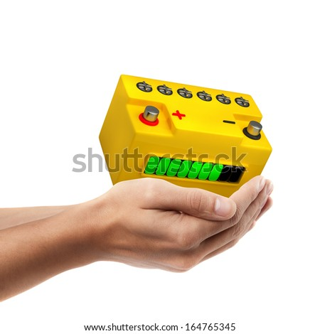 Closeup. Man's hand holding Battery car  isolated on white background. High resolution - stock photo
