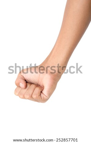 Closeup man's hand isolated on white background