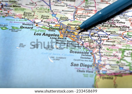 Closeup map of city Los Angeles for travel destination driving - stock photo