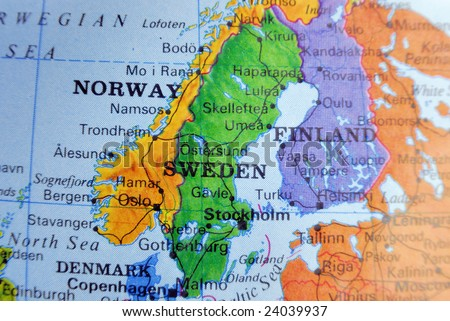 Closeup map of scandinavia in bright colors.