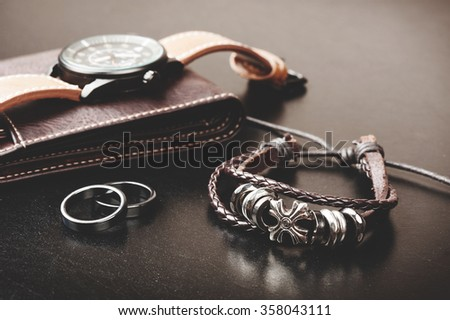 closeup men's bracelet, men's accessories - stock photo