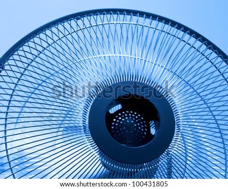 Closeup metal fan. Selective focus this object - stock photo