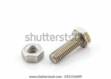 Closeup metal screw, bolt and nuts on white background.
