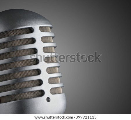 Closeup microphone on dark background  - stock photo