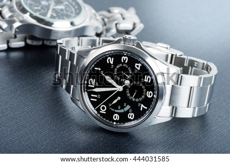 Closeup military or field style wristwatch, luxury automatic wristwatch for men