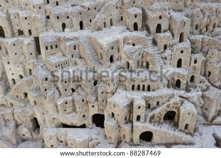 Closeup model of the Sassi di Matera - meaning stones of Matera which are prehistoric cave dwellings in the Italian city of Matera, Basilicata. It is one of the first or eldest  settlements of Italy.