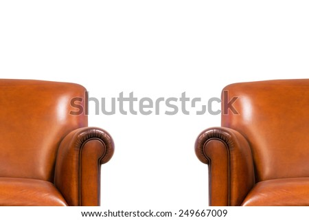 Closeup Modern Chair interior,isolated on white background, with clipping path - stock photo
