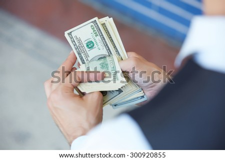 closeup money in male hands