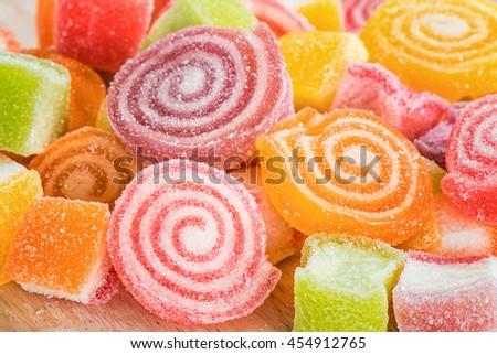 Closeup Multicolour sugary candy - stock photo